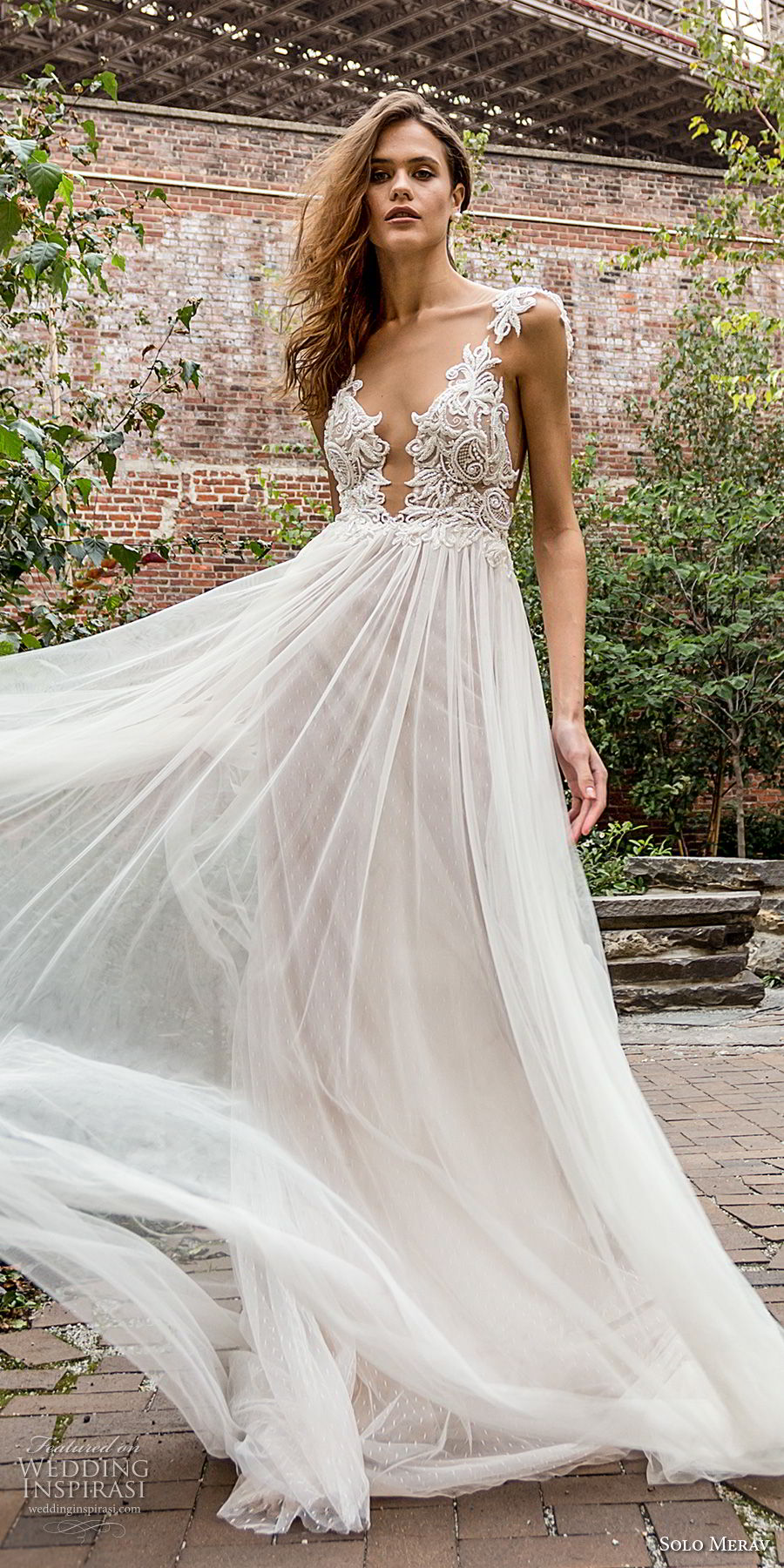 solo merav 2018 bridal cap sleeves deep plunging v neck heavily embellished bodice romantic soft a line wedding dress sheer button back chapel train (2) mv