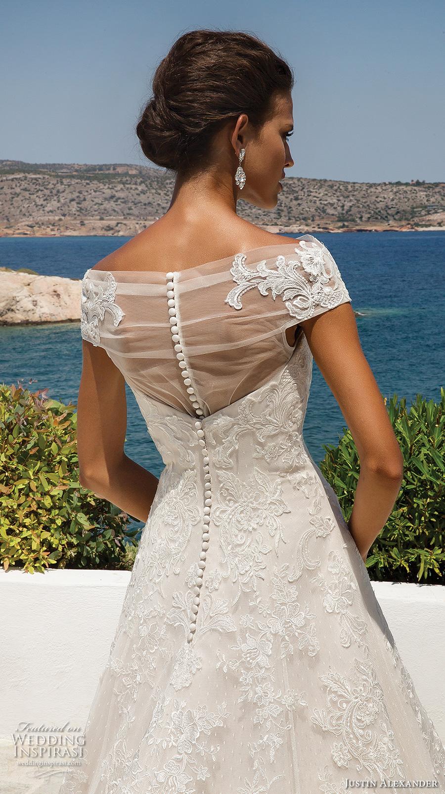 justin alexander 2018 bridal cap sleeves illusion bateau sweetheart neckline full embellishment romantic a line wedding dress sheer button back chapel train (2) zbv