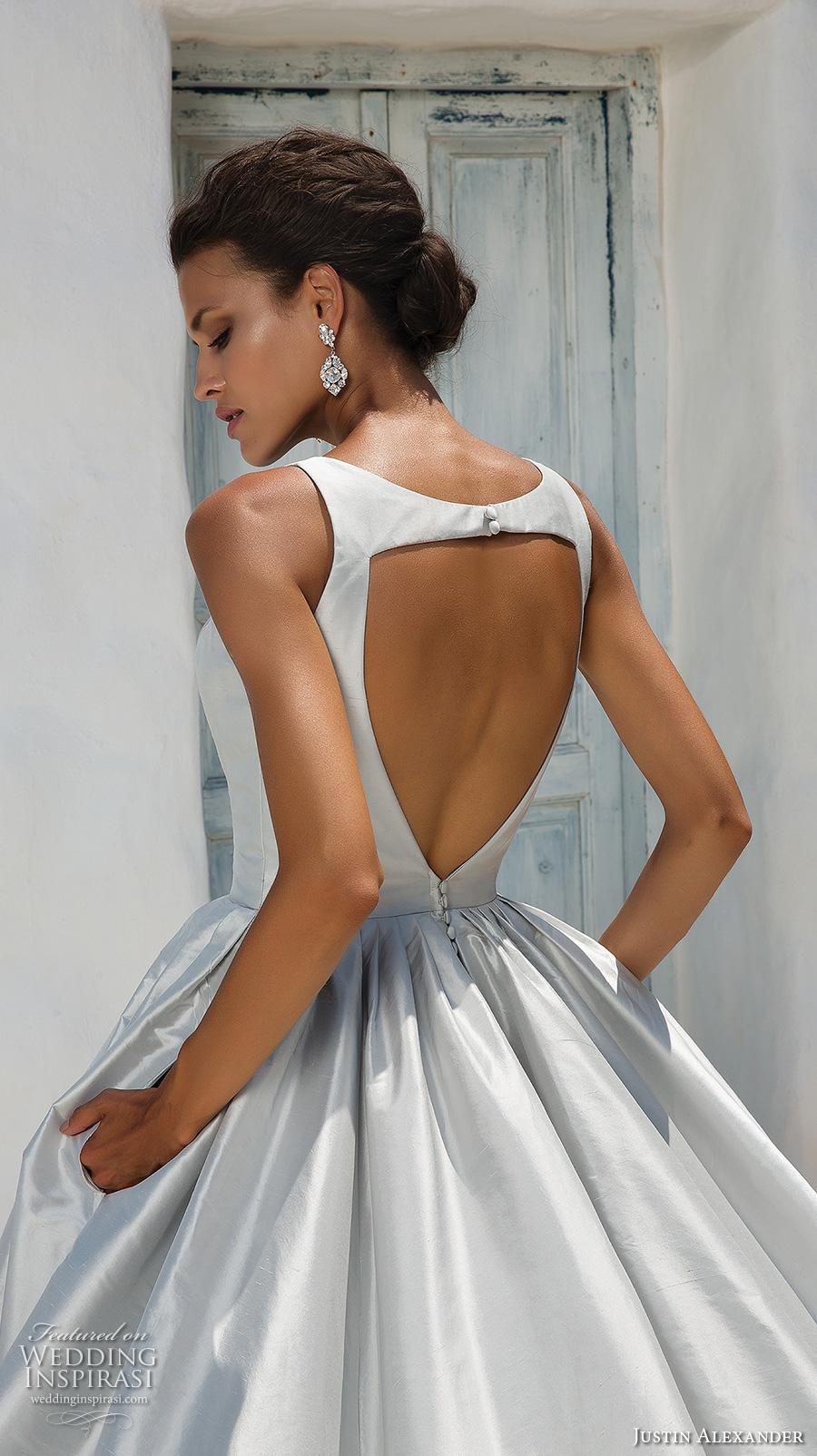 justin alexander 2018 bridal sleeveless deep v neck clean simple satin elegant sexy blue ball gown a line wedding dress with pockets keyhole back chapel train (3) zbv