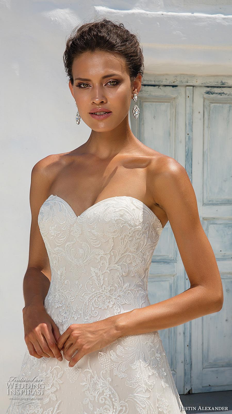 justin alexander 2018 bridal strapless sweetheart neckline full embellishment romantic a line wedding dress chapel train (1) zv
