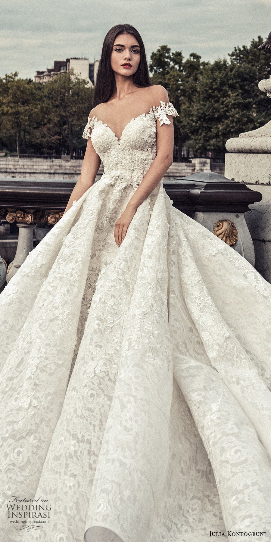 julia kontogruni 2018 bridal off the shoulder sweetheart neckline princess ball gown wedding dress sheer button back royal train (3) zv