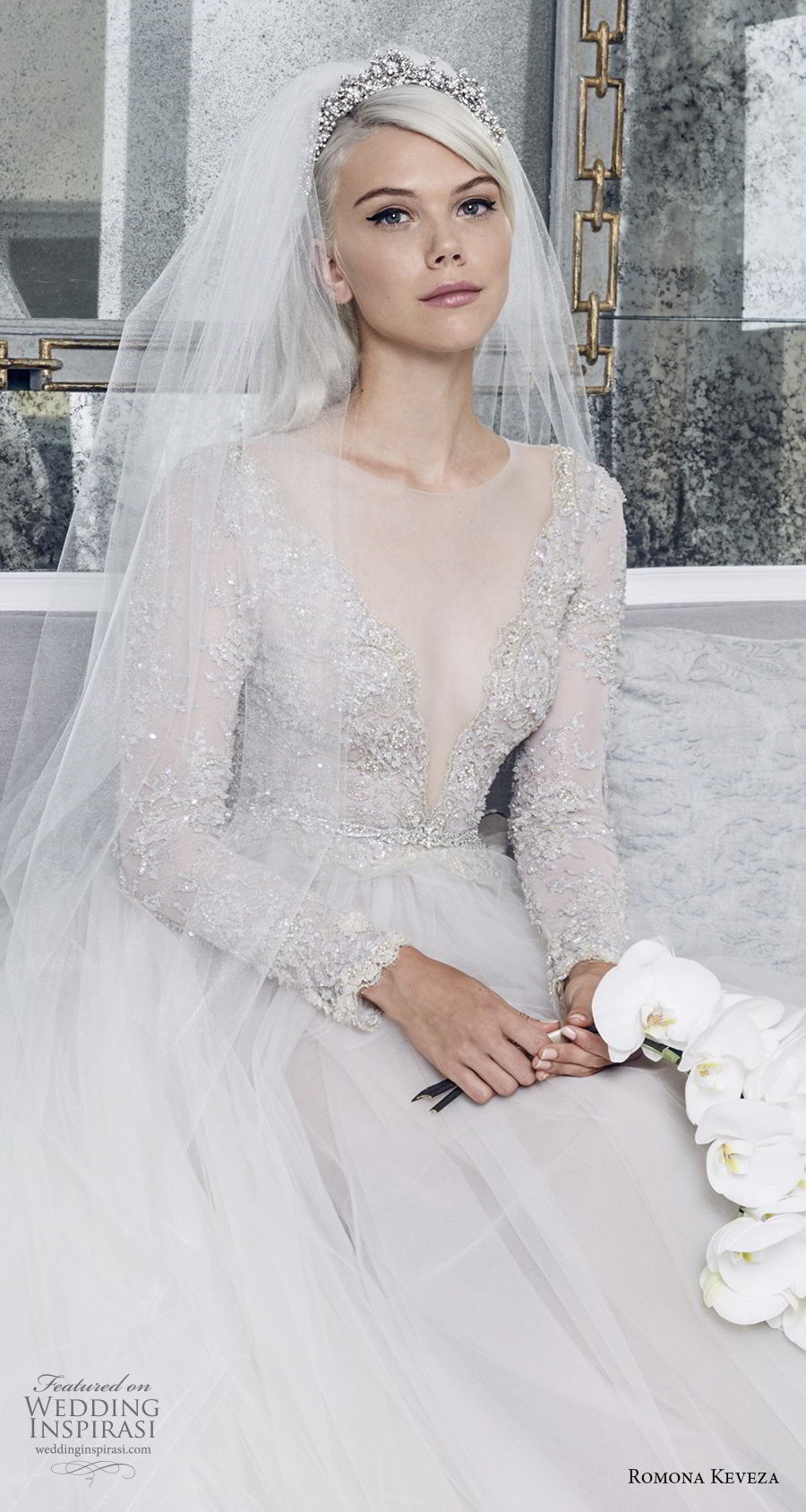 romona keveza fall 2018 bridal long sleeves illusion jewel deep v neck heavily embellished bodice tulle skirt princess romantic a line wedding dress (2) zv