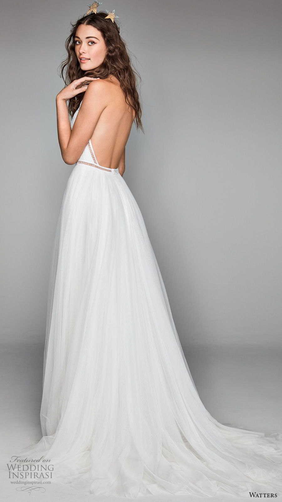 willow by watters spring 2018 sleeveless halter jewel neck heavily embellished bodice romantic soft a line wedding dress low back chapel train (3) bv