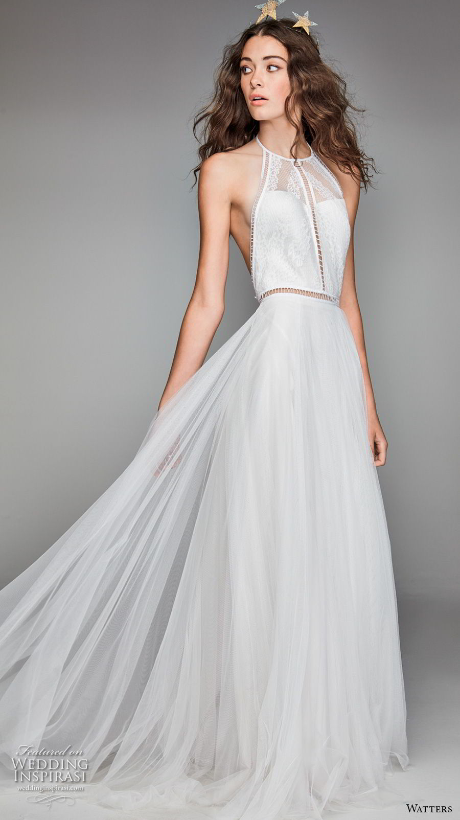 willow by watters spring 2018 sleeveless halter jewel neck heavily embellished bodice romantic soft a line wedding dress low back chapel train (3) mv
