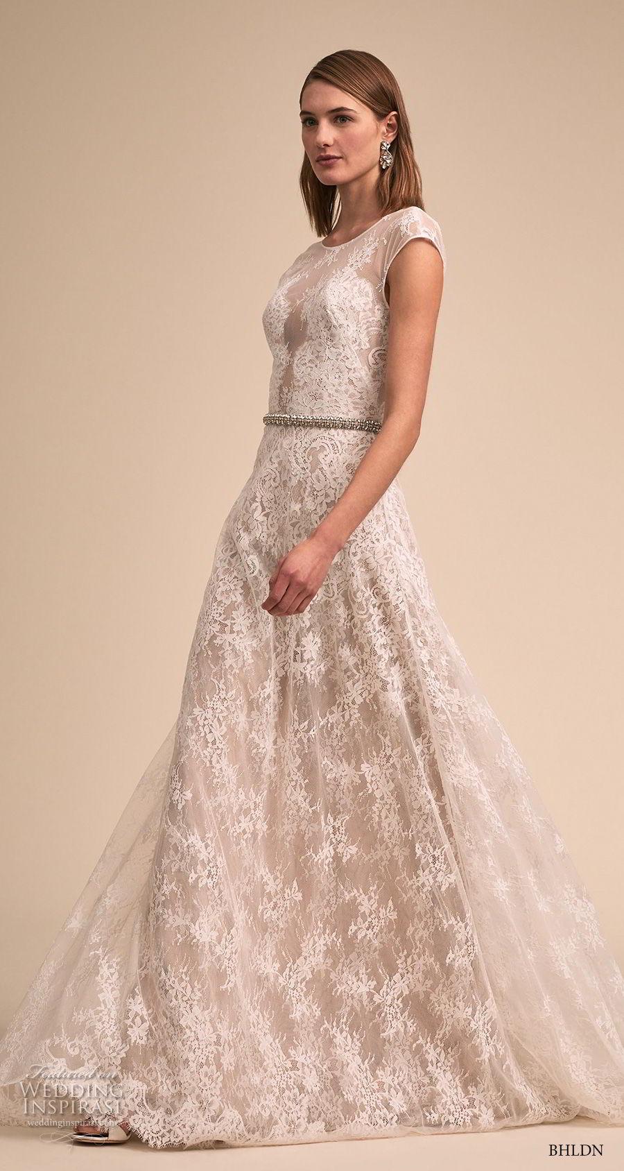 bhldn 2018 bridal cap sleeves bateau neckline full embellishment romantic soft a line wedding dress v back short train (4) mv