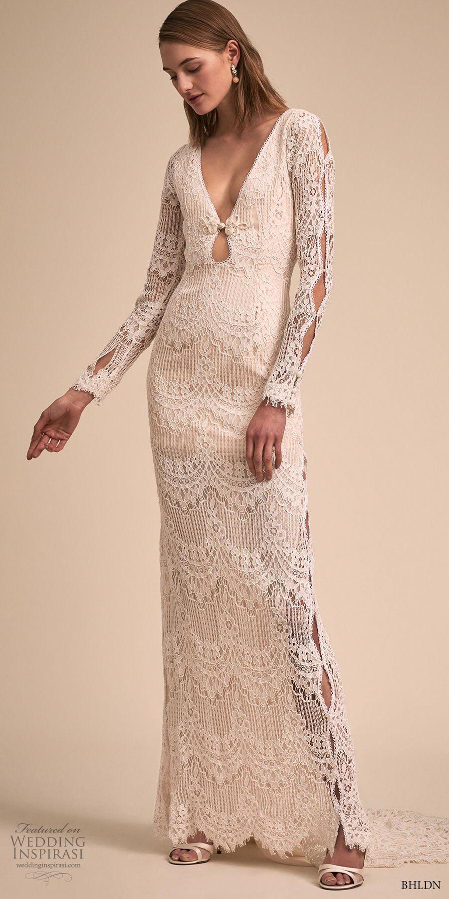 bhldn 2018 bridal long sleeves v neck full embellishment bohemian sheath wedding dress keyhole back short train (1) mv