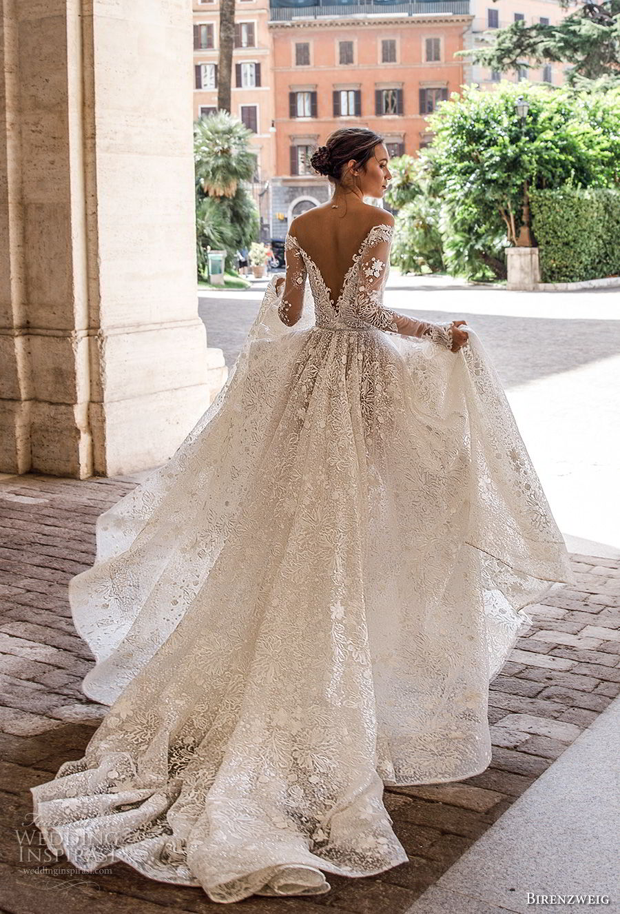 birenzweig 2018 bridal long sleeves off the shoulder deep plunging v neck full embellishment a line wedding dress sheer v back chapel train (1) bv