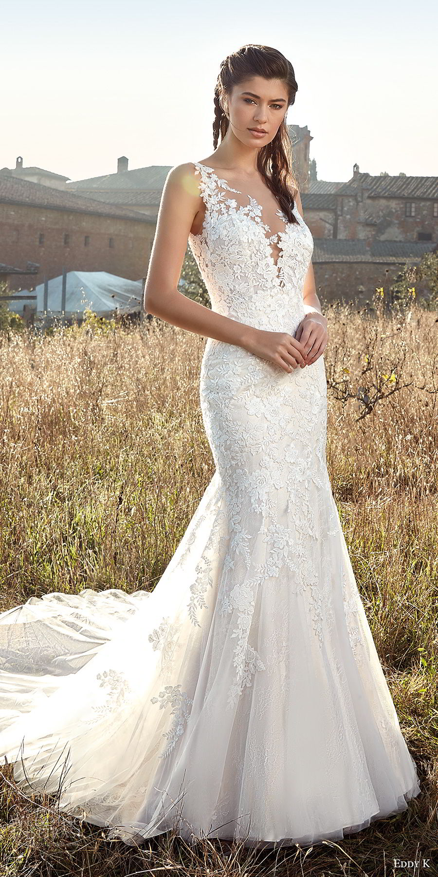 eddy k 2019 ek sleeveless deep plunging sweetheart neckline heavily embellished bodice elegant mermaid wedding dress chapel train (7) mv