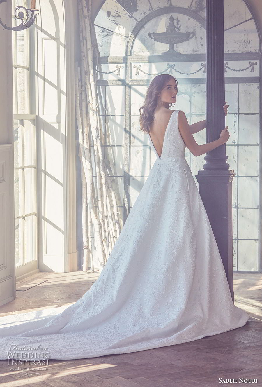 sareh nouri spring 2019 bridal sleevelss v neck light embellishment elegant romantic a line wedding dress open v back chapel train (2) bv