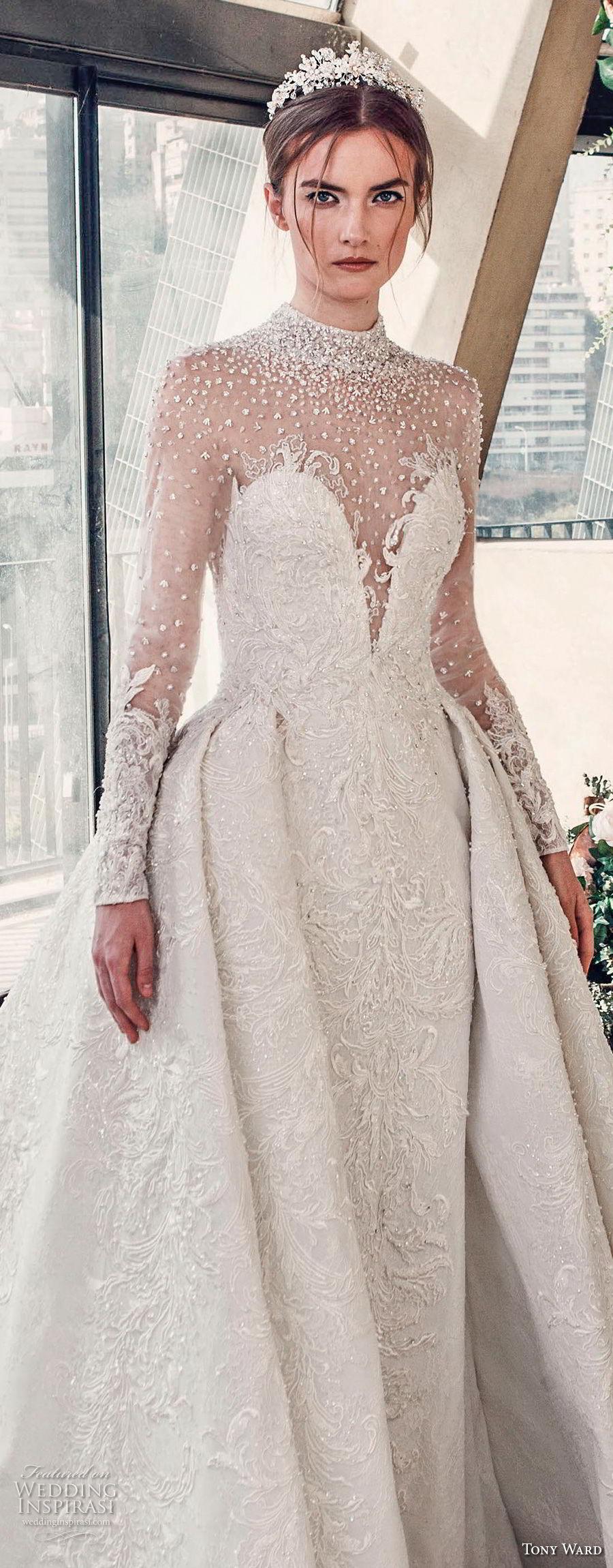 tony ward mariee 2019 long sleeves illusion high neck deep sweetheart neckline full embellishment princess ball gown a line wedding dress chapel train (3) zv