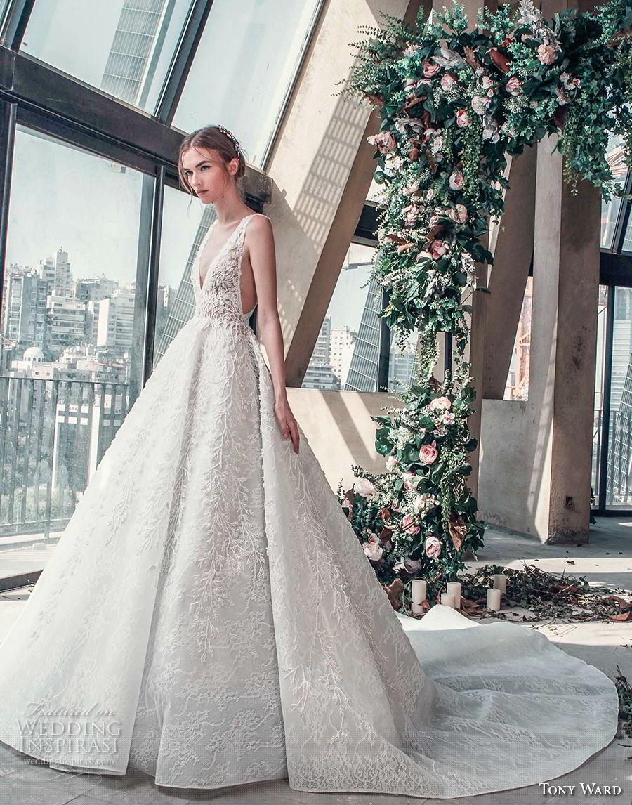 tony ward mariee 2019 sleeveless deep v neck full embellishment open side princess romantic a line wedding dress chapel train (4) mv