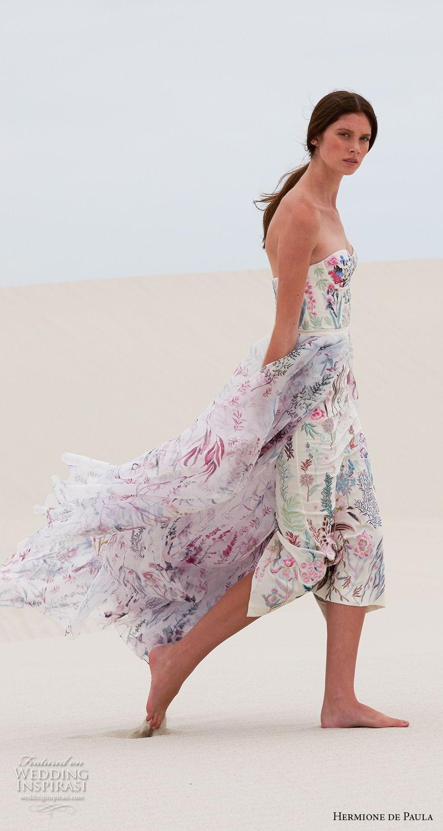 hermione de paula spring 2019 bridal strapless sweetheart neckline full embellishment bustier sexy romantic colorful short sheath wedding dress a line overskirt (3) mv