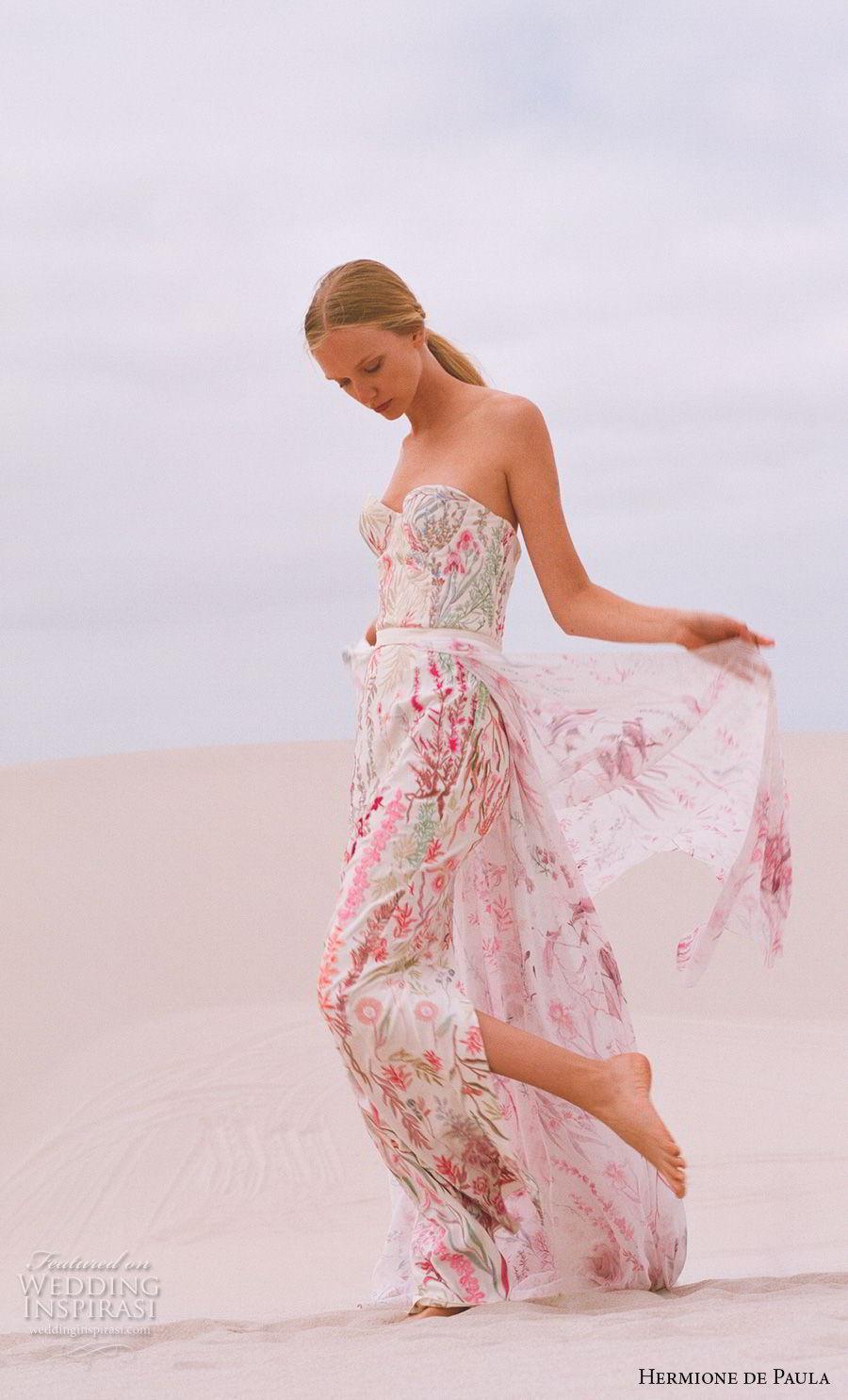 hermione de paula spring 2019 bridal strapless sweetheart neckline full embellishment color prints romantic colorful sheath wedding dress a line overskirt sweep train (1) mv