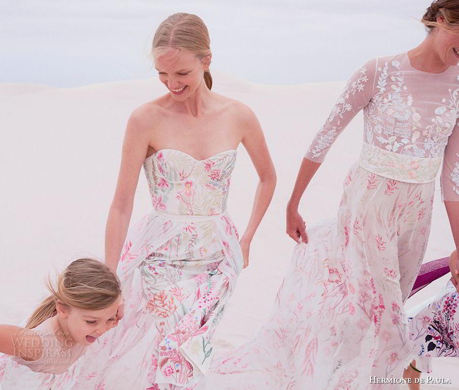 hermione de paula spring 2019 bridal strapless sweetheart neckline full embellishment color prints romantic colorful sheath wedding dress a line overskirt sweep train (1) zv
