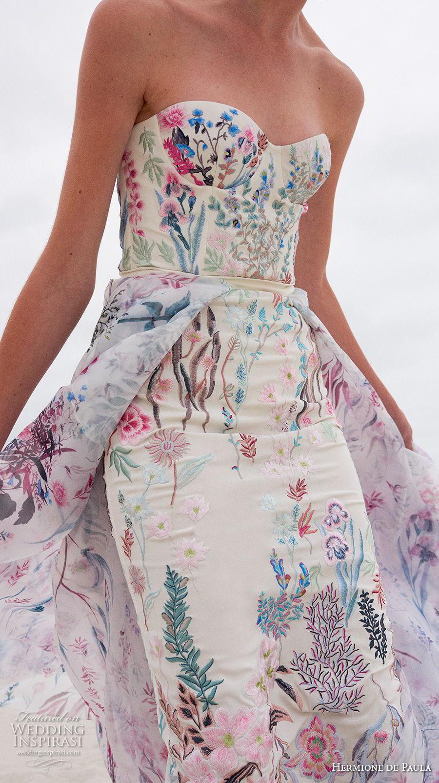 hermione de paula spring 2019 bridal zstrapless sweetheart neckline full embellishment bustier sexy romantic colorful short sheath wedding dress a line overskirt (3) zv