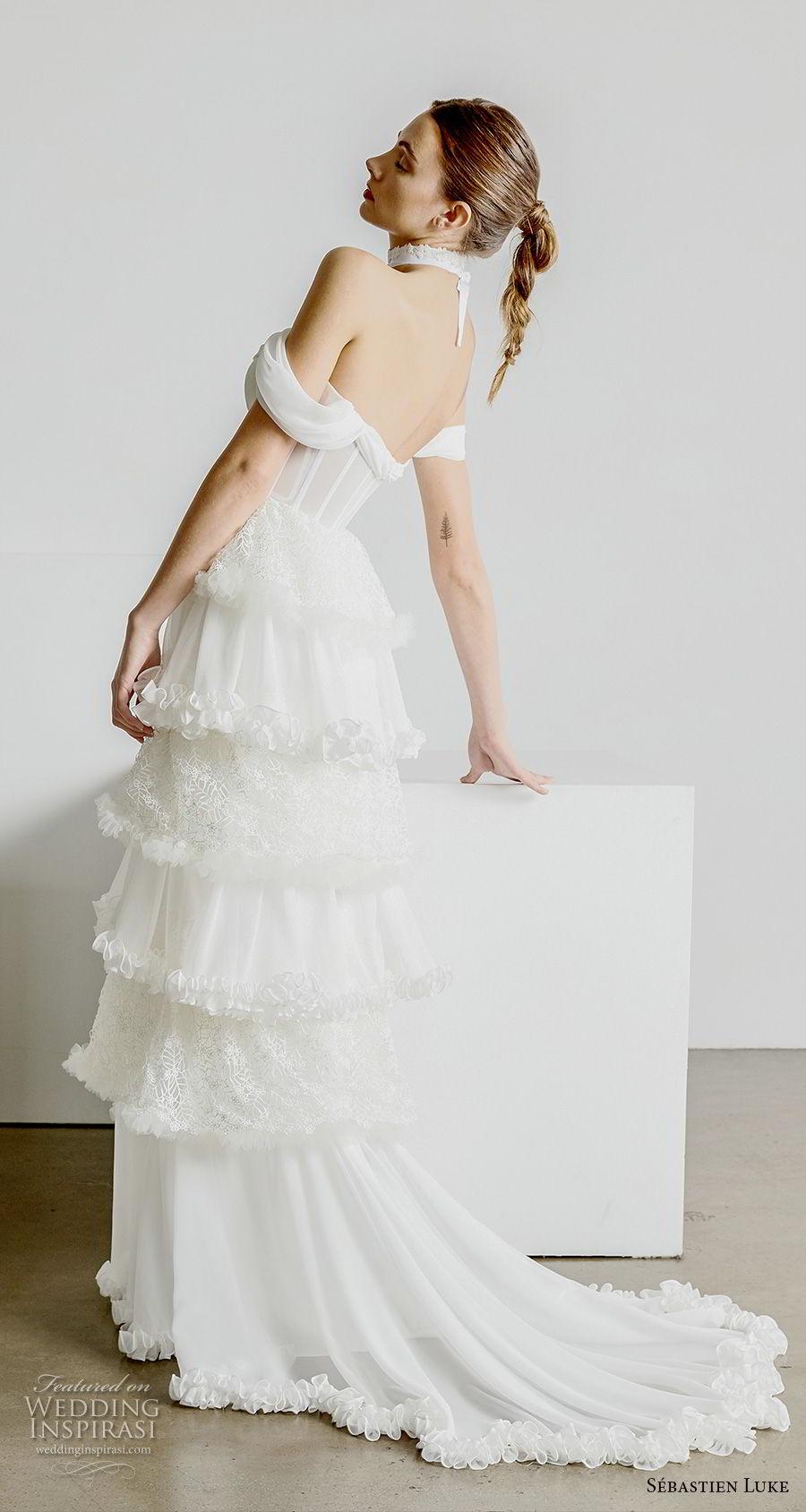 sebastien luke spring 2019 bridal off the shoulder sweetheart neckline bustier bodice simple tiered skirt romantic modified a line wedding dress short train (1) bv