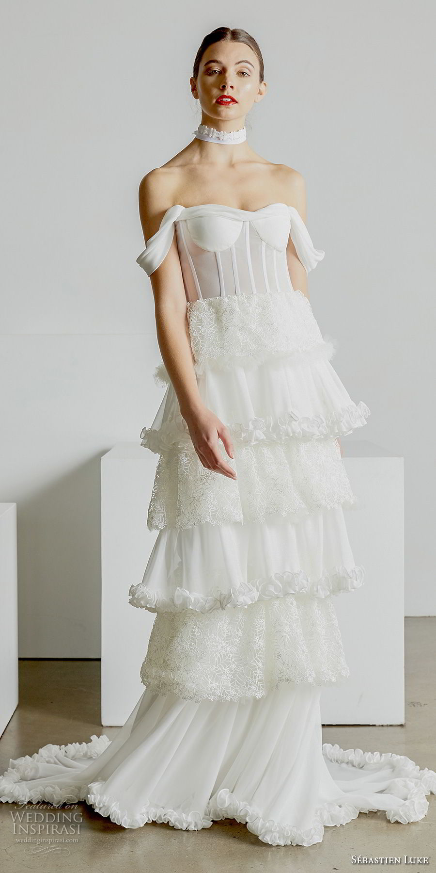 sebastien luke spring 2019 bridal off the shoulder sweetheart neckline bustier bodice simple tiered skirt romantic modified a line wedding dress short train (1) mv