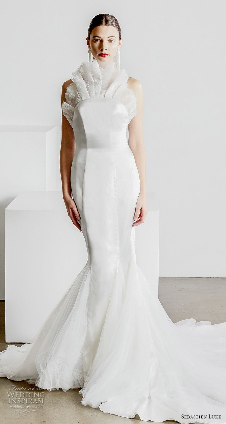 sebastien luke spring 2019 bridal strapless crumb catcher neckline simple minmalist elegant modern mermaid wedding dress open back chapel train (3) mv
