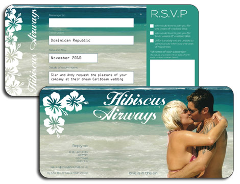 Airline Ticket Invitation - Sian and Andys Personalised Invitation - plane ticket invitation template