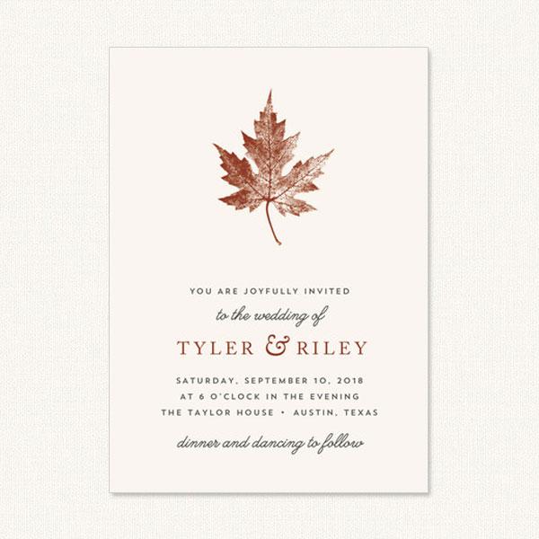 Rustic Fall Wedding Invitations - Autumn Leaves, Trees, Wood, Florals