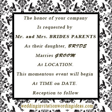 Evening Wedding Invite Wording - posh invitation wording
