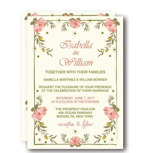 Cheap Print Floral Spring Rustic Wedding Invitation WIP001 - Wedding - rustic wedding invitation
