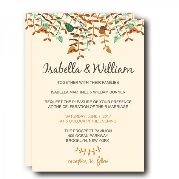 Fall Wedding Invitations, Yellow Tree Leaves and Greenery, Cheap