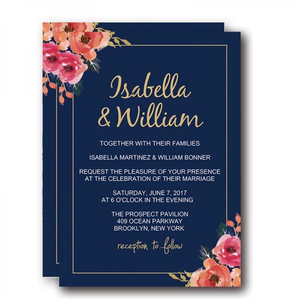Navy Blue Floral Wedding Invitations, Elegant Wedding Invitations