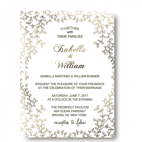 Modern white floral wedding invitations affordable, hand painted