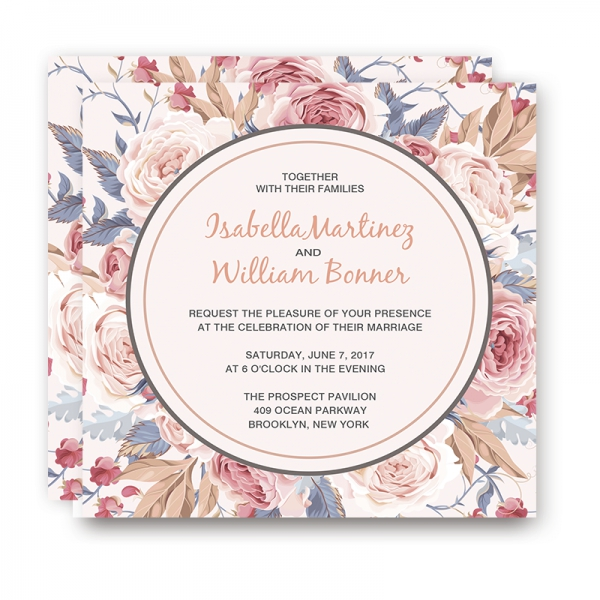 Blush pink wedding invitations, spring weddings, roses, boho