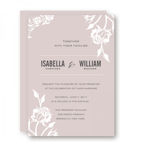 Elegant pink mauve wedding invitations, white floral, fall weddings