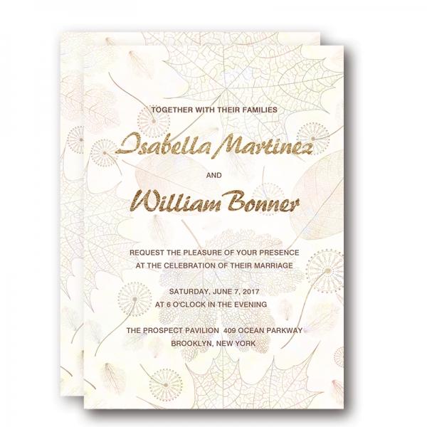 Gold Foil Wedding Invitations, Rustic Fall Wedding Invitations