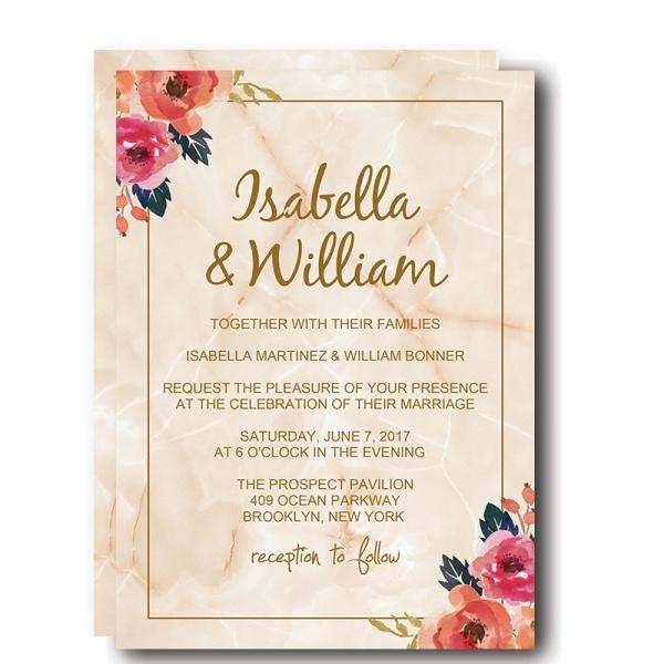 Elegant Marble Floral Wedding Invitation WIP039 - Wedding