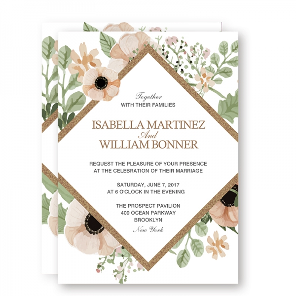 Rustic Greenery BOHO Floral Spring Wedding Invitations, Sage Green