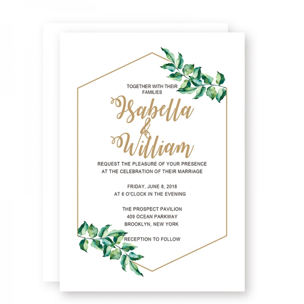 Printable Modern Simple Wedding Invitations with Olive Green Leaves