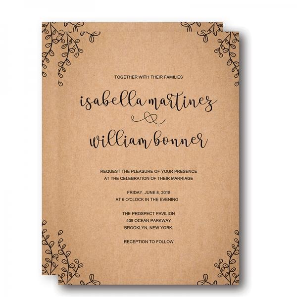 Vintage Rustic Fall Wedding Invitation, Minimalist wedding