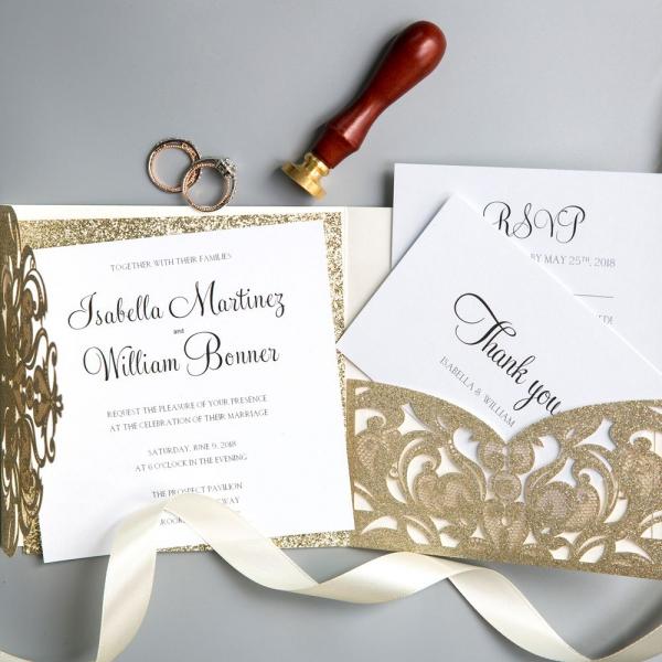 Vintage Champagne Gold Glitter Laser Cut Wedding Invitations, Fall