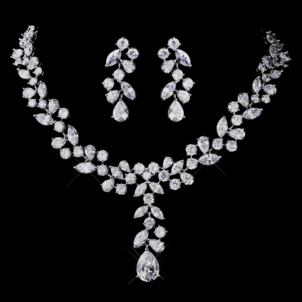 statement bridal necklace and earrings set solange cubic zirconia jewelry wedding jewelry Geneva Bridal Jewelry Set CZ Wedding Necklace and Earring Set