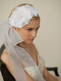 Wedding Hair Flower Bridal Headband with Wide Sheer Ribbon ...