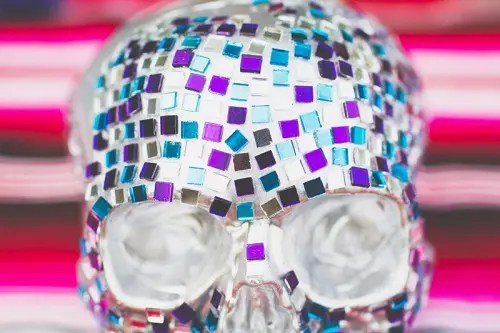 Colorful DIY Mosaic Skull Wedding Centerpiece