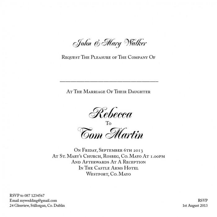 Wedding Invitation Wording - Wedding Print