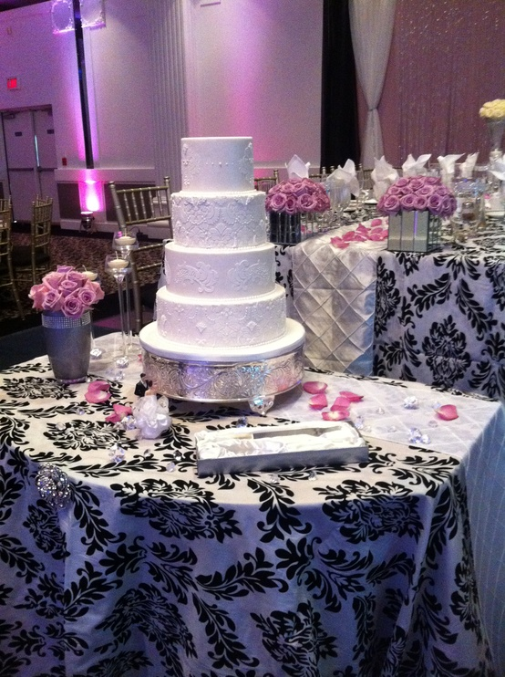 black white and pink wedding - Weddings By the Color