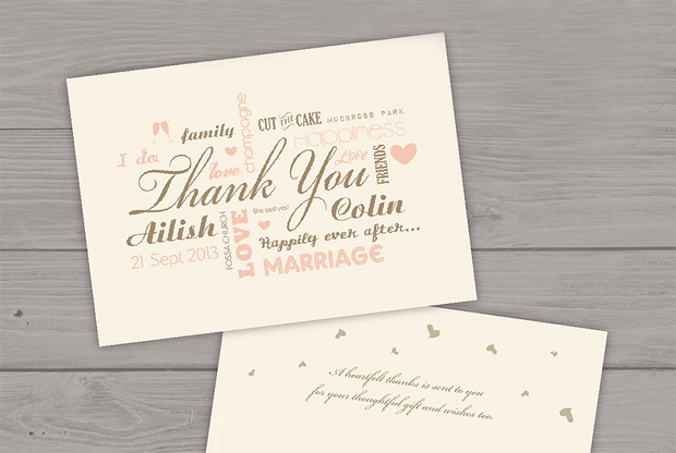 18 Beautiful Wedding Thank You Cards from Irish Stationery Designers
