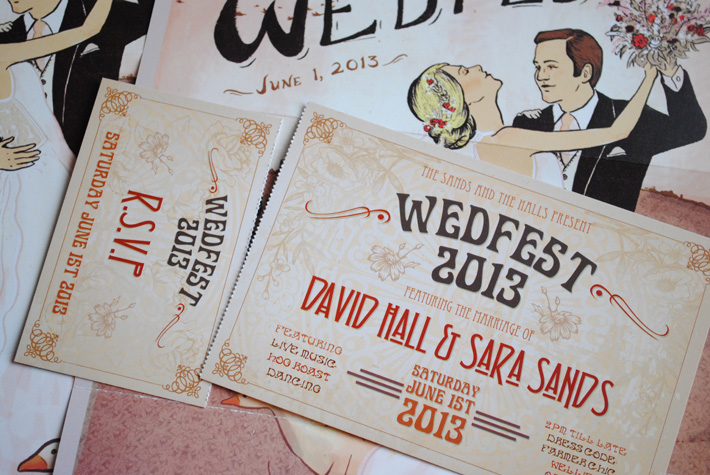 Art Deco / Art Nouveau Wedding Invitations WEDFEST