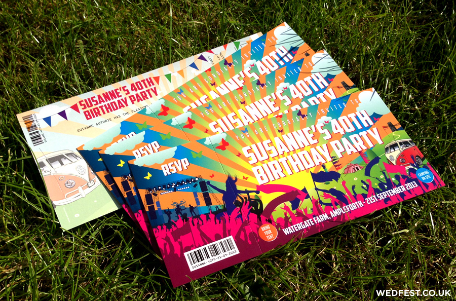 Festival Ticket Birthday Invites WEDFEST