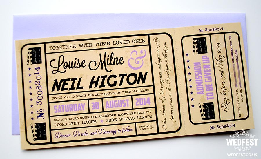 Movie Ticket Wedding Invitations WEDFEST - create your own movie ticket