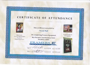 Certificate from Framers Equipment  Box Framing small