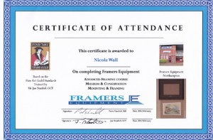 Certificate from Framers Equipment  Conservation small