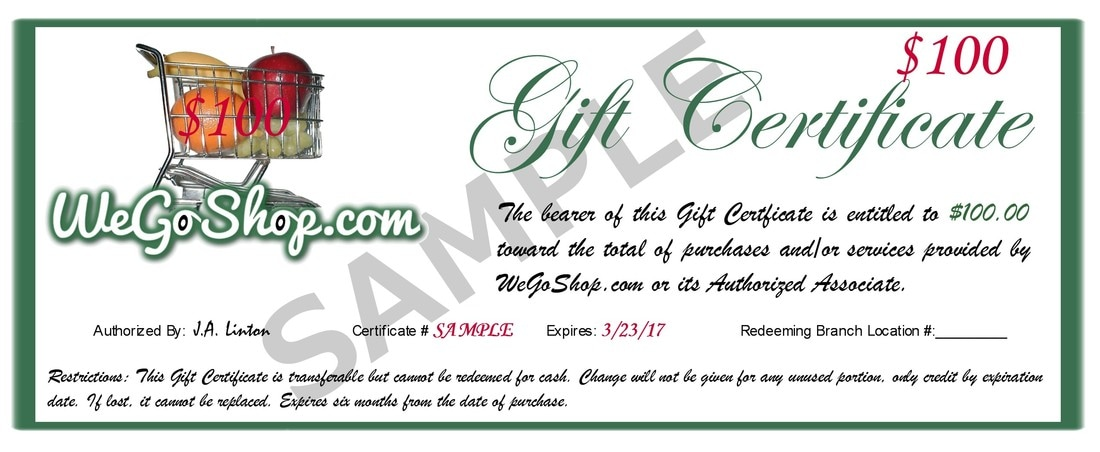 Gift Certificates - WeGoShop Grocery Shopping and Delivery Service