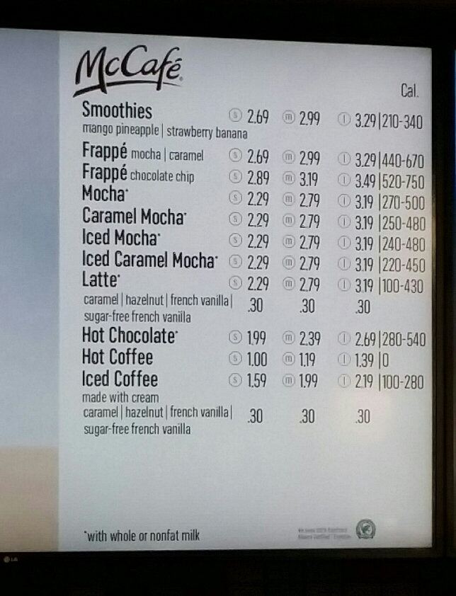 The 2015 McCafe Coffee Drink Menu at McDonalds